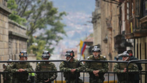 Presidential guard soldiers keep watch during the referendum on a peace accord to end the five-decade-longguerrilla war between the FARC and the state on Sunday in Bogota, Colombia. Colombian voters rejected the peace deal in a very close vote